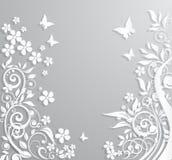 Fondo astratto con i fiori di carta e le farfalle Immagini Stock Libere da Diritti