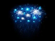 Fondo astratto con i fuochi d'artificio blu e bianchi Immagine Stock