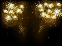 Fondo astratto con i fuochi d'artificio dell'oro Fotografia Stock Libera da Diritti