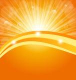 Fondo astratto con i raggi luminosi del sole Immagini Stock Libere da Diritti