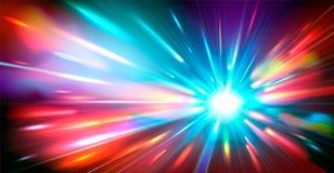 Fondo astratto con i raggi luminosi vaghi di colore al neon magico Illustrazione di vettore illustrazione vettoriale