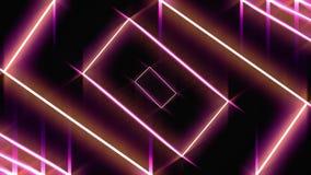 Fondo astratto con i rettangoli rossi al neon che si muovono uno per uno sul fondo nero, ciclo senza cuciture animazione glowing illustrazione vettoriale