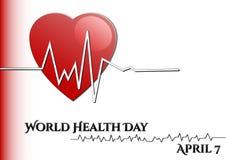 Fondo astratto con i simboli medici Giorno di salute di mondo Cuore con ritmo Immagini Stock
