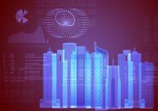 Fondo astratto con il modello della città 3d Fotografie Stock