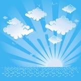 Fondo astratto con il sole, il mare e le nuvole Fotografie Stock