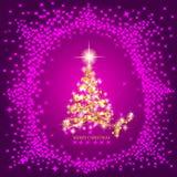 Fondo astratto con l'albero di Natale e le stelle dell'oro Illustrazione nei colori dell'oro e del lillà Fotografie Stock Libere da Diritti