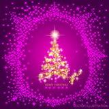 Fondo astratto con l'albero di Natale e le stelle dell'oro Illustrazione nei colori dell'oro e del lillà Illustrazione di vettore Immagini Stock Libere da Diritti