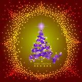 Fondo astratto con l'albero di Natale e le stelle lilla Illustrazione in lillà, in oro e nei colori rossi Immagini Stock Libere da Diritti