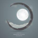 Fondo astratto con l'immagine della luna e delle nuvole Immagine Stock