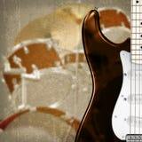 Fondo astratto con la chitarra e la batteria Fotografia Stock Libera da Diritti