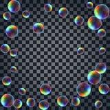Fondo astratto con le bolle di sapone realistiche multicolori illustrazione di stock