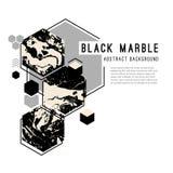 Fondo astratto con le forme geometriche ed il marmo nero illustrazione vettoriale