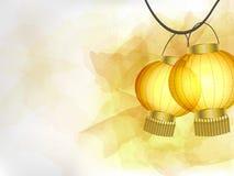 Fondo astratto con le lanterne di carta cinesi gialle sui precedenti dei colpi gialli della spazzola dell'acquerello Immagine Stock Libera da Diritti