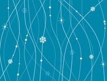 Fondo astratto con le linee, i punti ed i fiocchi di neve Fotografie Stock