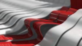 Fondo astratto con le linee realistiche delle onde Linee rosse della curvatura nel centro E illustrazione vettoriale