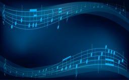 Fondo astratto con le note musicali Immagine Stock
