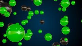Fondo astratto con le particelle della bolla di vetro verde Fotografia Stock