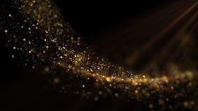 Fondo astratto con le particelle dorate di scintillio archivi video