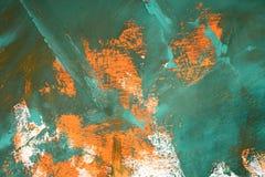Fondo astratto con le sbavature verdi arancio di bianco Fotografia Stock Libera da Diritti