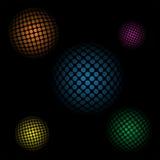 Fondo astratto con le sfere 3d su un fondo nero Fotografia Stock Libera da Diritti