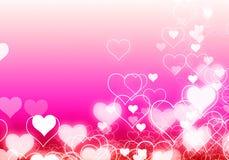 Fondo astratto con lo spazio in bianco leggero del chiarore di rosa del cuore per testo Fotografia Stock Libera da Diritti