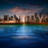 Fondo astratto con panorama di Vancouver Immagine Stock