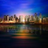 Fondo astratto con panorama di Vancouver Fotografia Stock