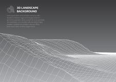 Fondo astratto con poli paesaggio basso Lo spazio del mondo virtuale illustrazione vettoriale