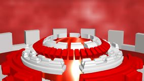 Fondo astratto con rosso bianco girante dei cerchi di romanzo royalty illustrazione gratis