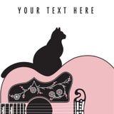 Fondo astratto creativo della chitarra con un gatto Immagini Stock Libere da Diritti