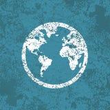 Fondo astratto d'annata di lerciume dell'icona del globo Fotografia Stock