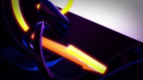 Fondo astratto 3D che gira le frecce di giallo blu scuro ed arancio Illustrazione Vettoriale