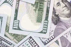 Fondo astratto dei contanti dei soldi da 100 dollari americani Fotografie Stock