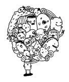 Fondo astratto dei personaggi dei cartoni animati Fotografia Stock Libera da Diritti