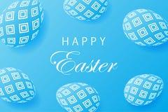 Fondo astratto del blu di Pasqua Uova creative 3D con il modello illustrazione vettoriale