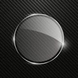 Fondo astratto del carbonio con l'insegna di vetro rotonda trasparente Immagini Stock