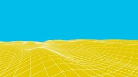 Fondo astratto del deserto Illustrazione di griglia del paesaggio wireframe di tecnologia 3d Maglia di Digital per le insegne Fotografia Stock Libera da Diritti