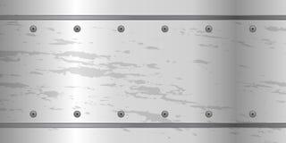 Fondo astratto del metallo con il piatto d'acciaio delle viti Fotografie Stock