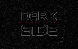 Fondo astratto del nero dello spazio del lato oscuro - lettere d'ardore sulla s illustrazione di stock