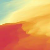 Fondo astratto del paesaggio del deserto Illustrazione di vettore Duna di sabbia Deserto con le dune e le montagne Paesaggio del  Fotografia Stock Libera da Diritti