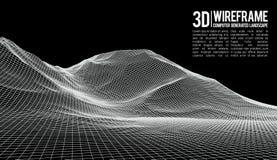 Fondo astratto del paesaggio di vettore Griglia del paesaggio del Cyberspace illustrazione di vettore di tecnologia 3d royalty illustrazione gratis