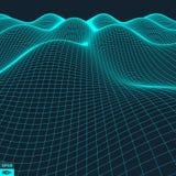 Fondo astratto del paesaggio di vettore Griglia del Cyberspace illustrazione vettoriale