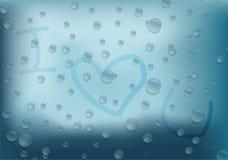 Fondo astratto del testo della goccia di pioggia ti amo Fotografie Stock Libere da Diritti