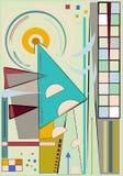 Fondo astratto del turchese, forme geometriche e curve operate, stile di arte di espressionismo Immagini Stock