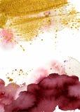Fondo astratto dell'acquerello, Borgogna acquerella disegnata a mano e struttura dell'oro illustrazione vettoriale