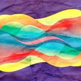 Fondo astratto dell'acquerello con differenti elementi ondulati illustrazione vettoriale
