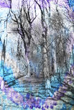 Fondo astratto dell'acquerello con gli alberi fantastici, fotografia stock libera da diritti