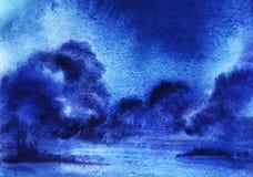 Fondo astratto dell'acquerello con i cespugli invasi del cumulo lanuginoso Notte, cielo scuro Illustrazione disegnata a mano su c royalty illustrazione gratis