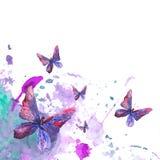Fondo astratto dell'acquerello con le farfalle illustrazione vettoriale