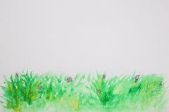 Fondo astratto dell'acquerello dell'erba Immagine Stock